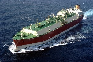 Liquefied natural gas ship underway