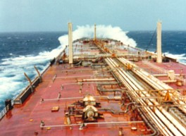 Product carrier in rough sea condition
